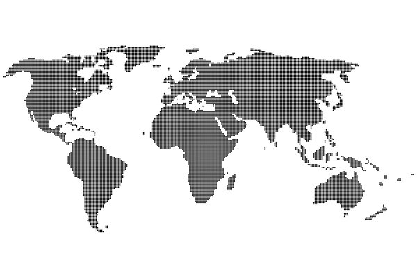 Dot - World Map: Map of the world made up of tiny, black dots