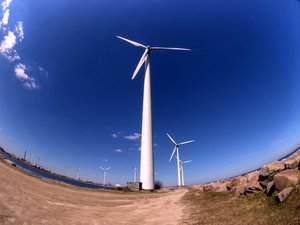 Windmils - HDR: Windmills seen with fisheye lens. The picture is HDR.