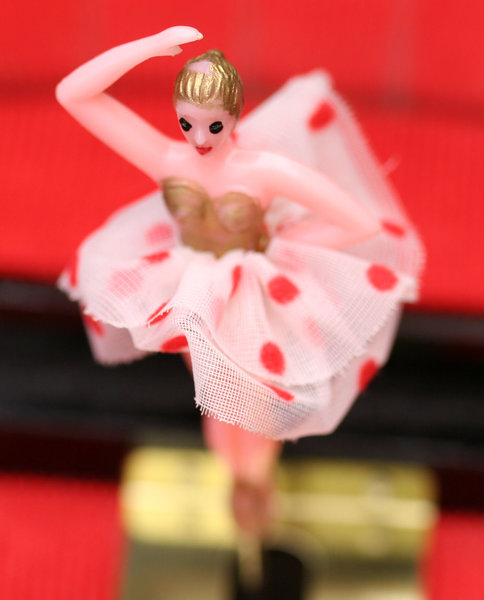 music box ballerina: musical jewellewry box with small rotating ballerina doll