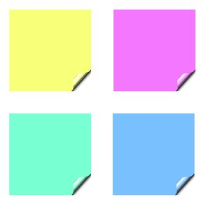 Stickers 7 Squares: Square stickers with a lifted edge, in pastel colours. Copyspace for your pricing, message or announcement. May be used as web buttons.