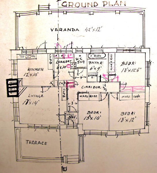 house plans: old faded architectural house plans - tracing paper originals