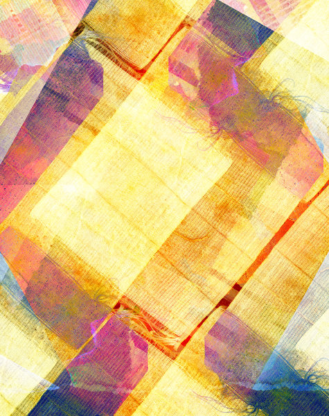 Fabric Collage 1: Variations on a vintage fabric collage.