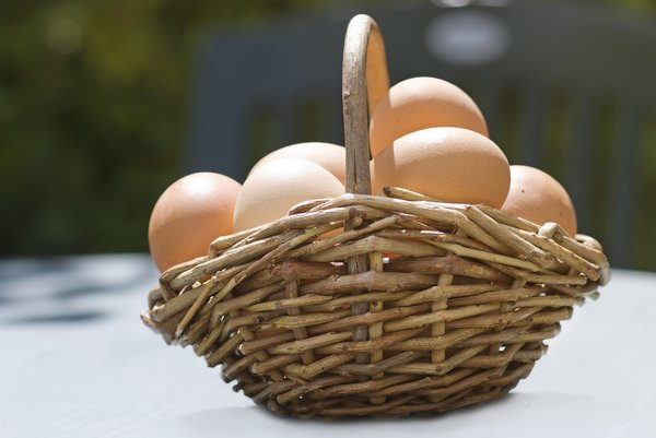 Eggs in a basket: fresh eggs