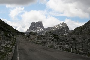 Rocky road: A road through the Dolomites, Italy.
