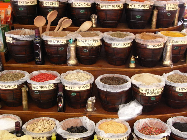 Spices: Variety of spices outside a shop