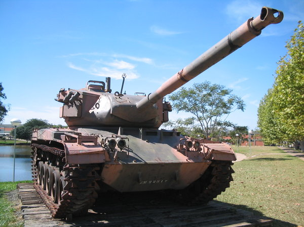War: And old tank at the museum of the Lutheran University of Brazil, Canoas, RS.  Please inform Bush!