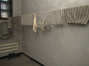 state-o: prison clothes - from the Communism victims Memorial in Sighet Romania