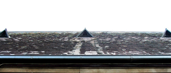 up above: steep angled roof showing tiles, vents and guttering