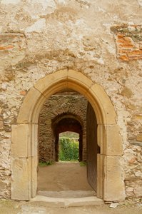 mysterious portal: stone portal on castle in Bolkow - poland
