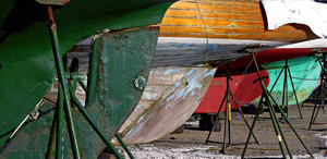 Rudders: The rudders of several yachts waiting to be repaired at the International Yacht Restoration Society, Newport, RI