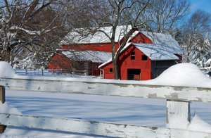 Red Barn in Snow 2