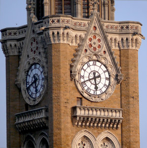 Clock Tower: Indian's equivalent of London's Big Ben! The Rajabhai tower, in Mumbai, was built and remains from the time of the British Raj. This is a close up of the clock itself