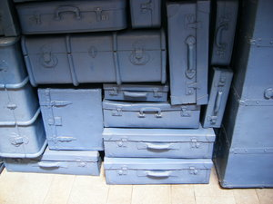 BLUE CASES: A strange wall of blue baggages