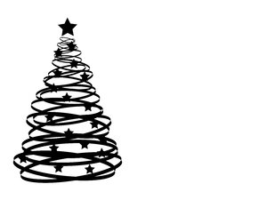 Abstract Xmas Tree 2: An abstract Christmas tree silhouette with stars.  Black over white with copy space.
