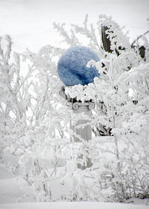 Blue Gazingball in the Snow