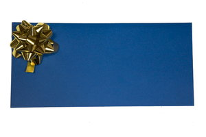 gift card: blue gift card with golden stra