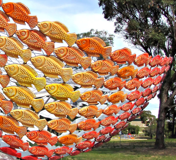 fishy basket: large outdoors display of fish in shape of a basket