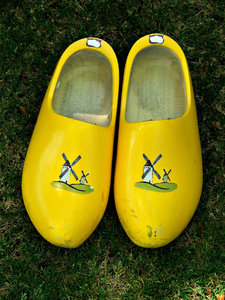 solid shoes: Dutch wooden shoes or clogs used in national cultural dances