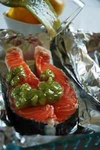 Salmon marinade: Me preparing the salmon with a nice lemon marinade