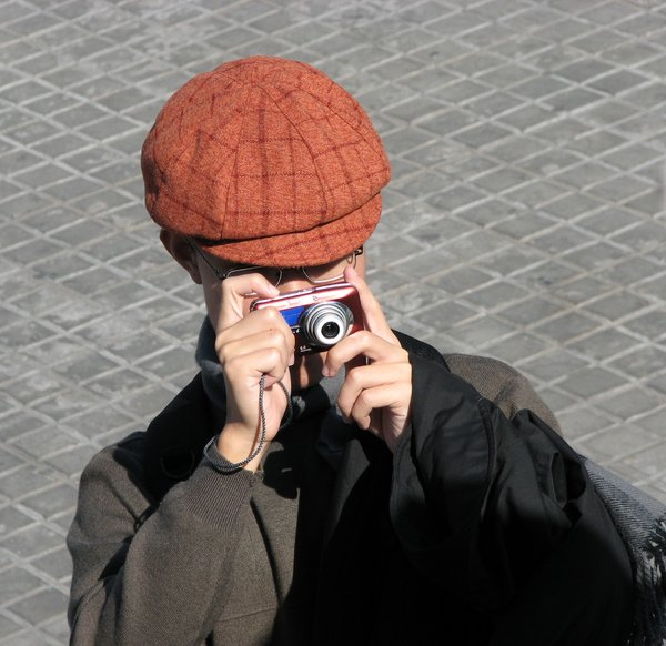 Snapping Tourist: A tourist taking photographs