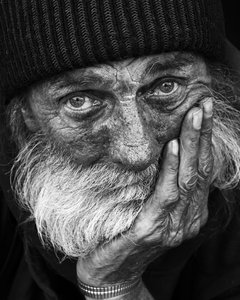 Homeless Mike: B&W portrait of homeless man
