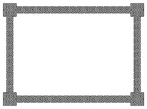Geometric Border 6: A border of classic geometric scrolls and embellished corner elements in black.  Lots of copy space.