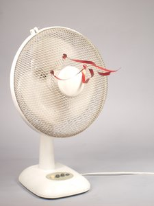 White fan with red ribbons