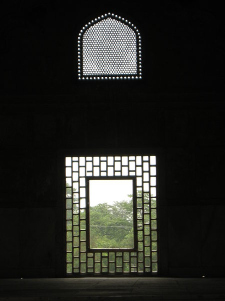 View from the past: A window and an air-vent in a 17th century building inside the Red Fort in Delhi, India.