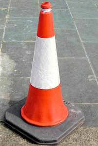traffic cone: a traffic cone, this one was spotted in Glasgow, Scotland, UK.