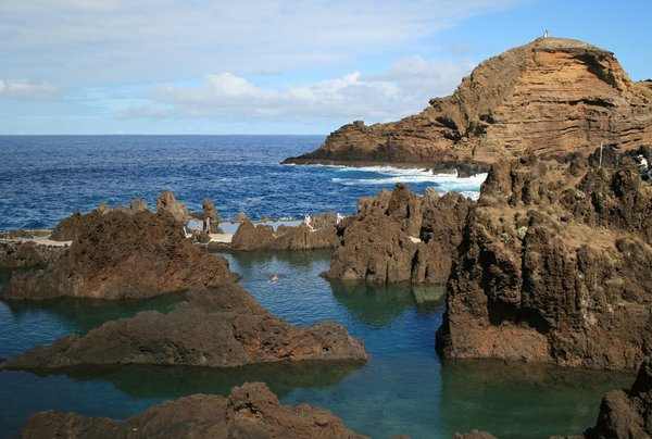 Coastal rockpools: Rockpools used for safe swimming on the coast of Madeira.