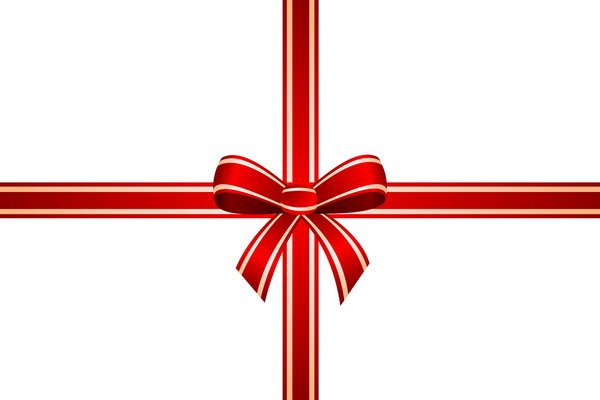 Red Ribbon & Bow: Red ribbon and bow on the white background