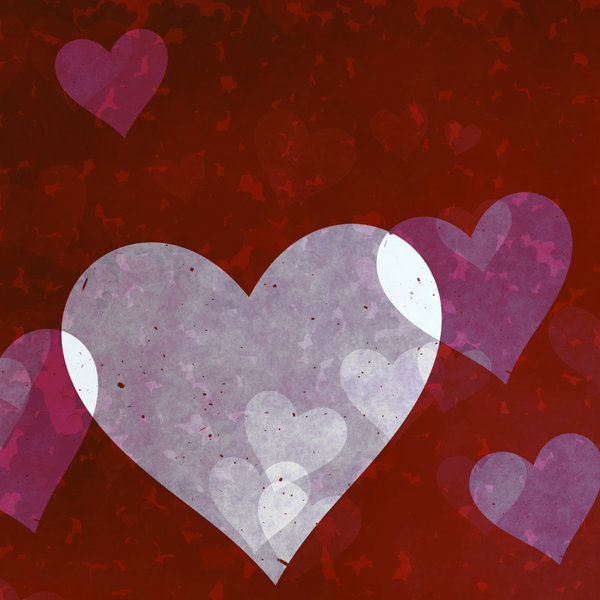 Lots of Hearts 9: Grungy, pretty Valentine hearts in a collage suitable for a texture, background, backdrop or fill, a birthday card or wrapping, anniversary, wedding, or valentine.