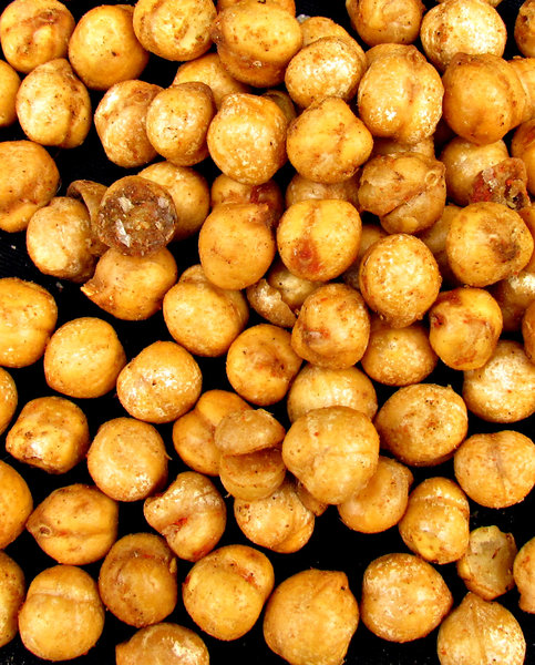 chickpeas: roasted and spice coated chickpeas - garbanzo beans