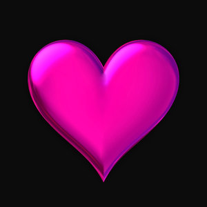 Heart B: A basic pink glass, plastic or metallic 3D heart suitable for a texture, background, backdrop or fill, a birthday card or wrapping, anniversary, wedding, or valentine.