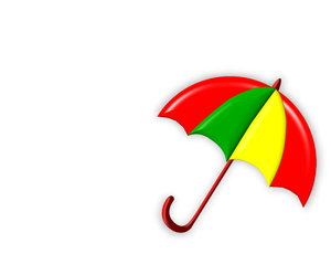 Summer Shade 2: Bright, summery umbrella or parasol with plenty of copyspace. Red, yellow and green.