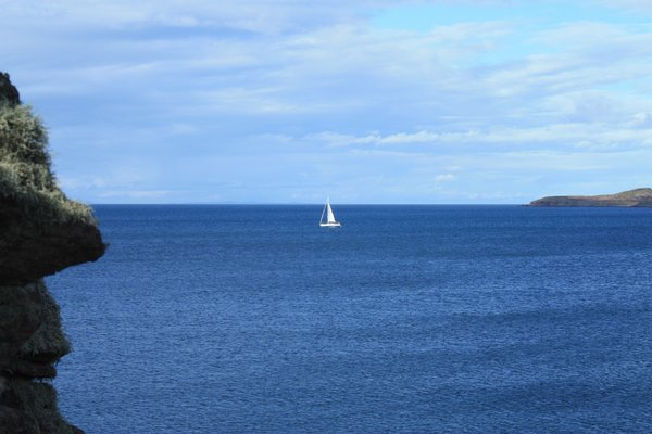 A yacht off the Scottish Highl