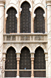 Moorish style architecture: old city building in arabesque/Moorish architectural style