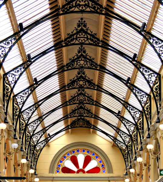 arcade ceiling: decorative and colourful historic arcade ceiling