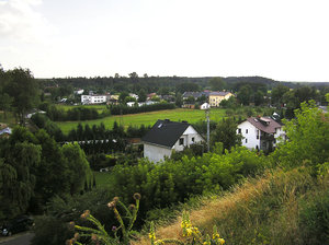 Town: A view from a hill on a small town Inowlodz.
