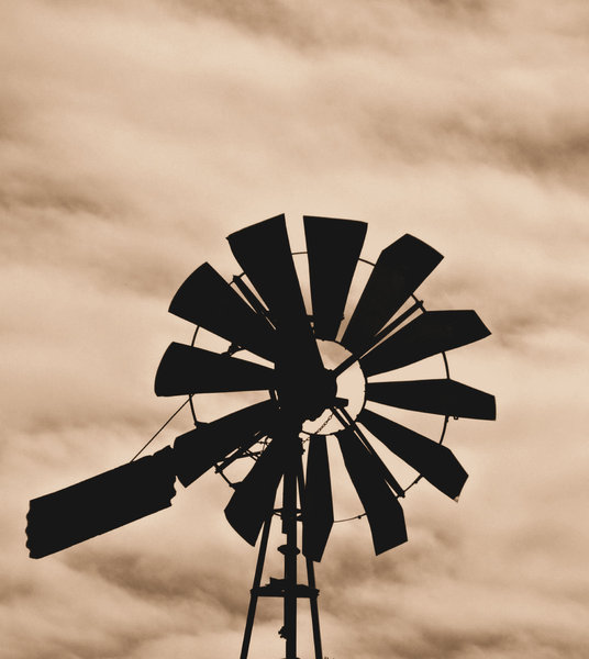 old windmill silhouette
