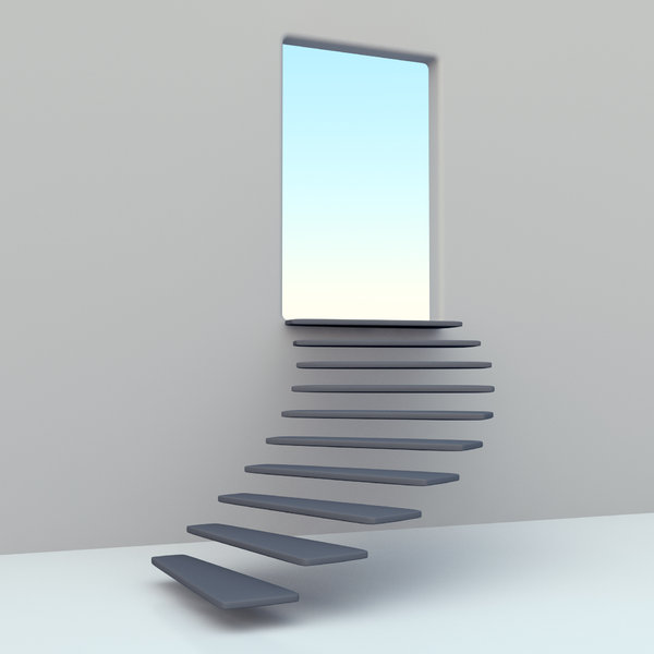 Stairway to heaven: elegant, stair, open, door, blue, sky, heaven, peace, freedom, 3D, rendered, abstract