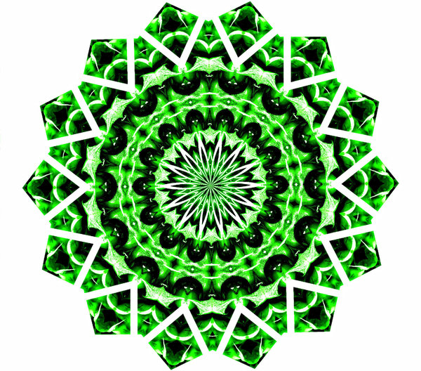 Christmas green mandala: abstract backgrounds, textures, patterns, geometric patterns, kaleidoscopic patterns, circles, shapes and  perspectives from altering and manipulating image