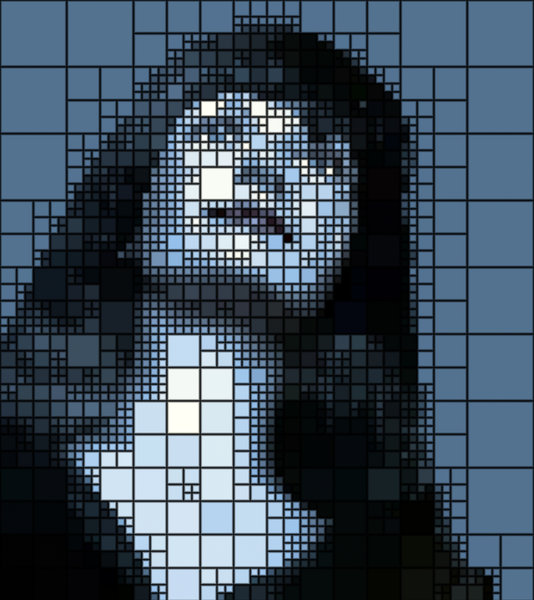Woman's Face Mosaic Effect: Public domain image of a mannequin rendered in a mosaic effect. Image courtesy of Dennis Hill.