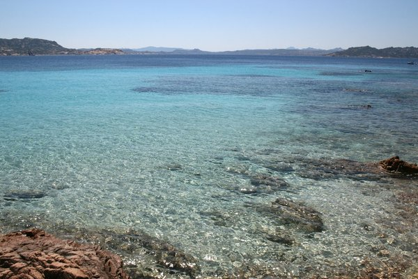 Shallow sea: Shallow clear waters between the Maddalena Islands, Sardinia.