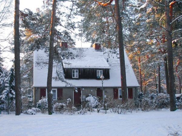 rural cottage in winter 2