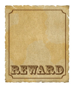 Reward Poster 2: Grungy reward poster with border and lots of copyspace.  Digital render.