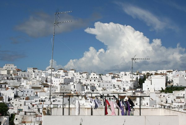 Rooftop washing: Rooftop washing in a village in southern Spain
