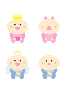 Funny baby cartoon set: Set of four simple colorful baby cartoons: Happy baby, crying baby, little princess and little angel