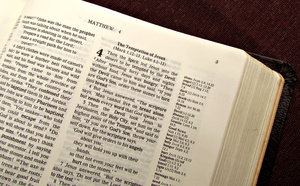 open Bible2: Bible open in the New Testament - Matthew