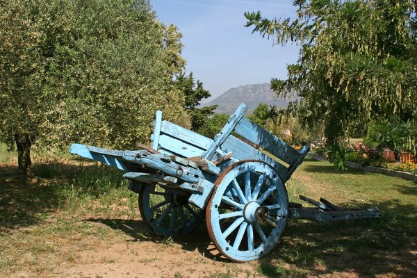 Old Wagon: An old wagon in an olive orchard in Sardinia.